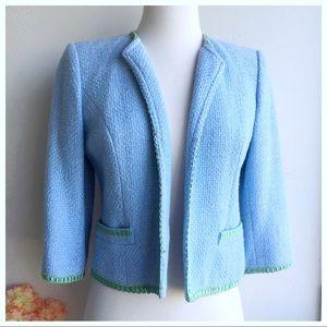 Milly Morning Sky blue Tweed Blazer